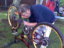 Engraving a bike at a Saturday Advice Shop